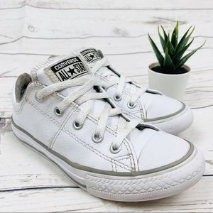 Converse White Real Leather Low Top Sneakers